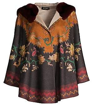 Etro Women's Rabbit-Trimmed Cashmere Printed Hooded Cape