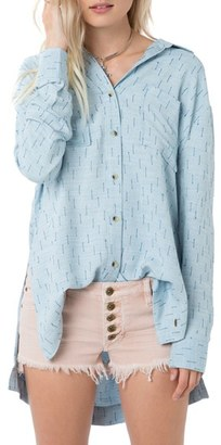 O'Neill 'Gretchen' Woven High/Low Shirt $52 thestylecure.com