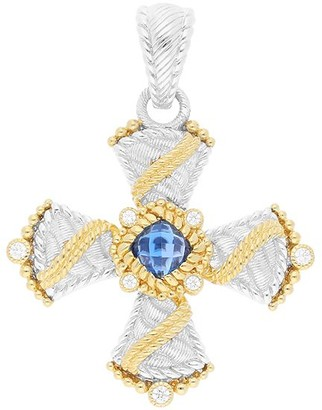 Judith Ripka Sterling & 14K Clad Blue Topaz Cross Enhancer