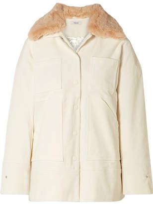 Ganni Ridgewood Faux Fur-trimmed Cotton-blend Corduroy Jacket - Cream