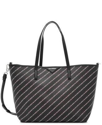 Karl Lagerfeld K/Stripe Logo Shopper with Leather