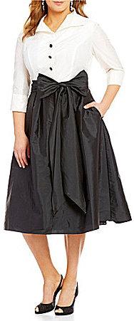 Adrianna PapellAdrianna Papell Plus Taffeta Two-Tone Shirt Dress