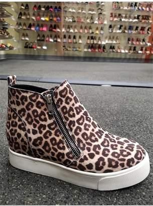 L.A. Shoe King Cheetah Sneaker Wedge