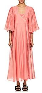 Thierry Colson Women's Sultane Bell-Sleeve Silk-Cotton Wrap Dress - Candy Pink