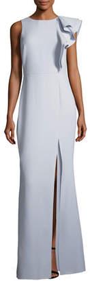 Halston Asymmetric Flounce Ruffle Evening Gown