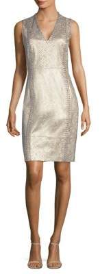 Elie Tahari Emily Metallic Leather Dress