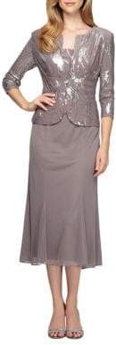 Alex Evenings Plus Tea-Length Dress with Sequined Jacket