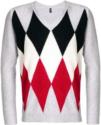 Eleventy V-neck argyle jumper
