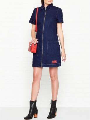 Calvin Klein Zip Front Denim Diner Dress