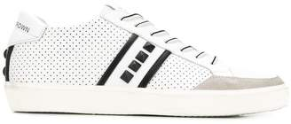 Leather Crown studded lace-up sneakers