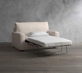 Pottery Barn Pearce Square Arm Upholstered Twin Sleeper Sofa with Memory Foam Mattress