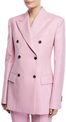 Calvin Klein Double-Breasted Herringbone-Check Long Wool Blazer