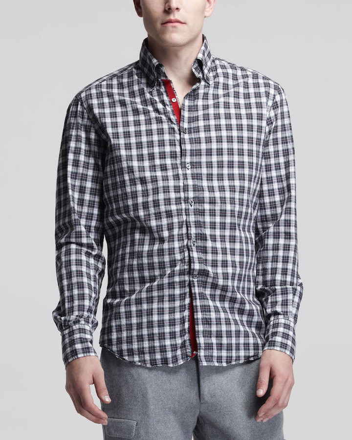 Michael Bastian Plaid Poplin Sport Shirt, White/Red/Black