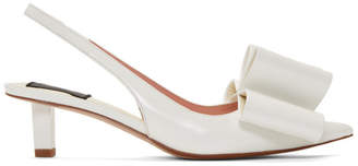 Marc Jacobs White Leather Bow Slingback Heels