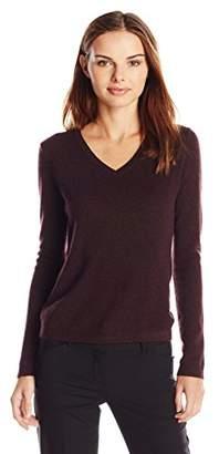 Lark & Ro Women's 100% Cashmere Soft Slim Fit V-Neck Sweater