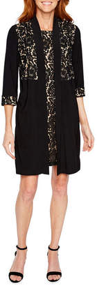 Perceptions 3/4 Sleeve Lace Faux Jacket Dress
