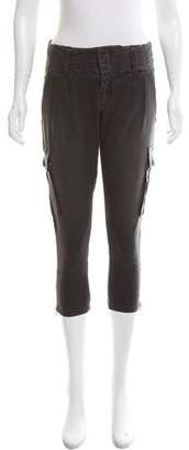 Alice + Olivia Mid-Rise Leather-Trimmed Pants