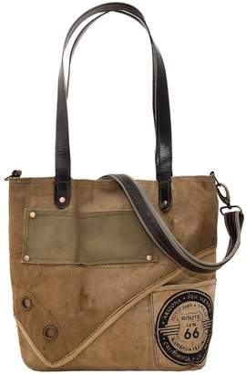 Vintage Addiction Leather Trim Route 66 Recycled Military Tent Tote