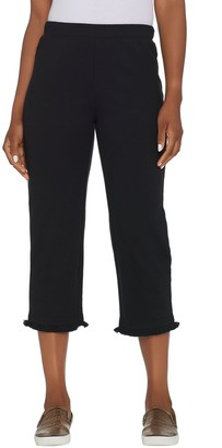 Factory Quacker Pull-On French Terry Crop Pants with Fringe Hem