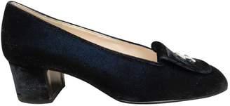 Chanel Blue Velvet Heels