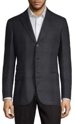 Brioni Silk Plaid Suit Jacket
