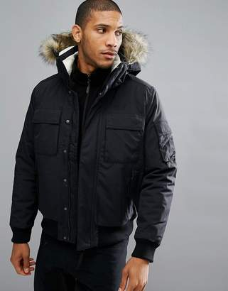 Jack Wolfskin Brockton Jacket with Faux Fur Hood in Black