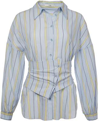 Tibi Striped Shirt with Removable Corset Belt