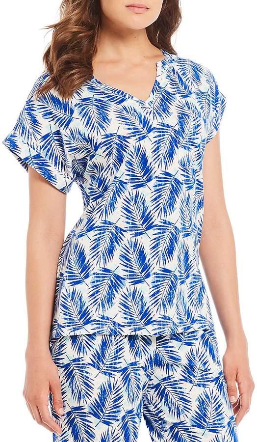 Sleep Sense Palm Leaf-Printed Knit Sleep Top