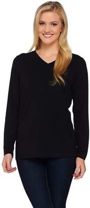 Denim & Co. Essentials Jersey V-neck Long Sleeve Top