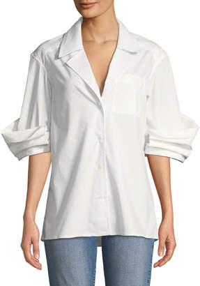 Rosie Assoulin Button-Front Cotton Stretch-Poplin Shirt with Peek-a-Boo Effect