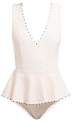Marysia Swim French Gramercy Gingham Peplum Swimsuit - Womens - Pink