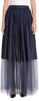 Brunello Cucinelli Long Tulle Pleated Sheet-Hem Skirt