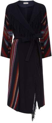Tory Burch Alice Striped Belted Coat