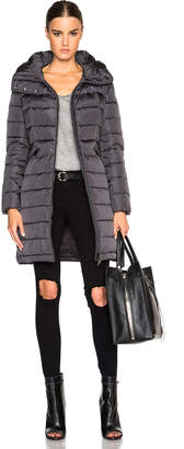 Moncler Flammette Long Coat in Charcoal | FWRD