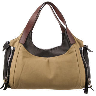 Celine Céline Leather Trimmed Canvas Tote