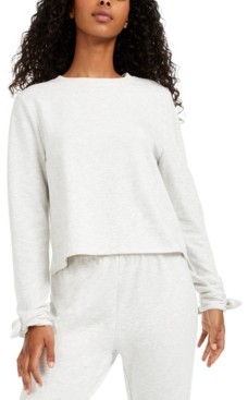 Miken Juniors' Envelope-Back Bow-Cuff Cover-Up Sweatshirt, Created for Macy's Women's Swimsuit
