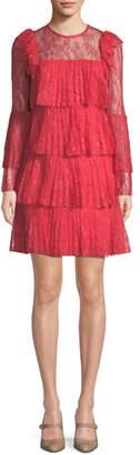 Badgley Mischka Tiered Pleated Lace Mini Dress