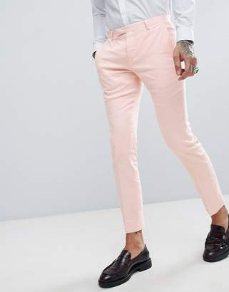 Twisted Tailor wedding super skinny suit pants in pink linen
