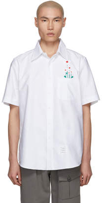 Thom Browne White Embroidered Daisy Oxford Shirt