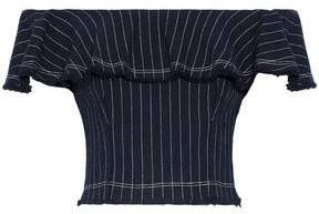 Alexander Wang Off-The-Shoulder Ruffled Pinstriped Cotton Top