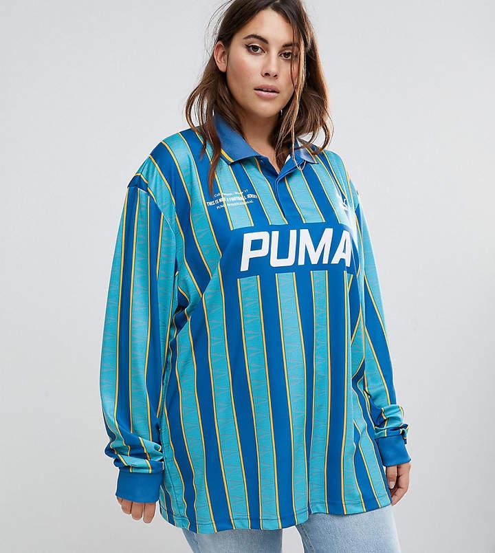 –Exklusiv bei ASOS Plus – Fußballshirt in Blau