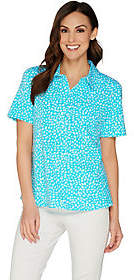 Denim & Co. Printed Short Sleeve Polo Top w/Pocket Detail