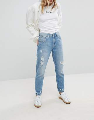 Pepe Jeans Violet High Waist Rigid Mom Jean with Distressing