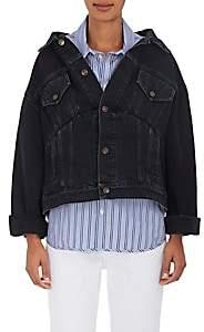 Balenciaga Women's Off-The-Shoulder Denim Jacket - Black