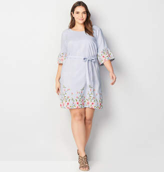 Avenue Embroidered Print Striped A-Line Dress