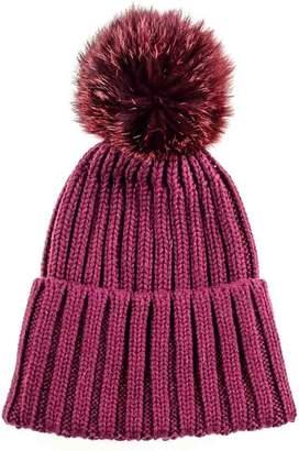 c375fcaeddd Black Wine Cashmere and Fur Bobble Hat