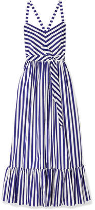 J.Crew Ruffled Striped Cotton-poplin Maxi Dress - Royal blue
