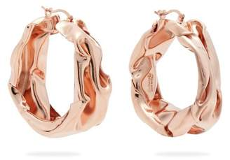 Jil Sander - Hammered Rose Gold Tone Hoop Earrings - Womens - Rose Gold