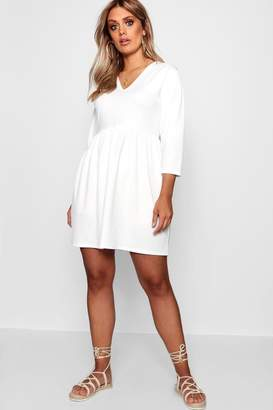 boohoo Plus V Neck Smock Dress
