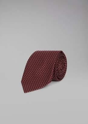 Giorgio Armani Pure Silk Tie With Checked Jacquard Motif